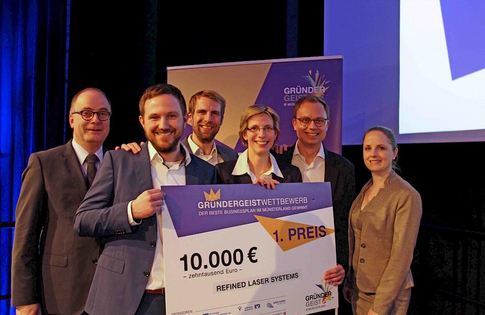 Die Gewinner des ersten Businessplanwettbewerbs im Münsterland.