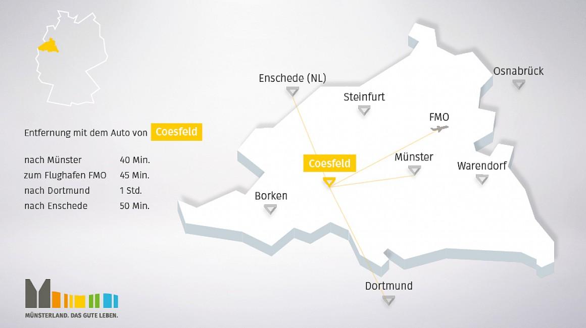 Geografische Lage von Coesfeld im Münsterland