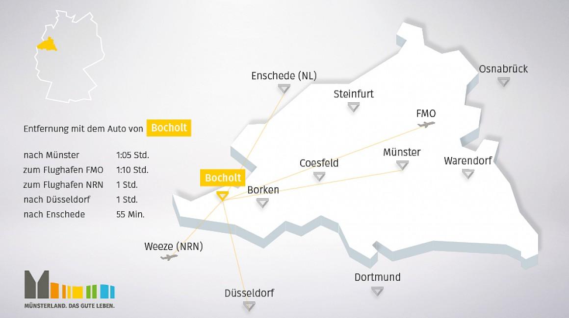 Geografische Lage von Bocholt im Münsterland