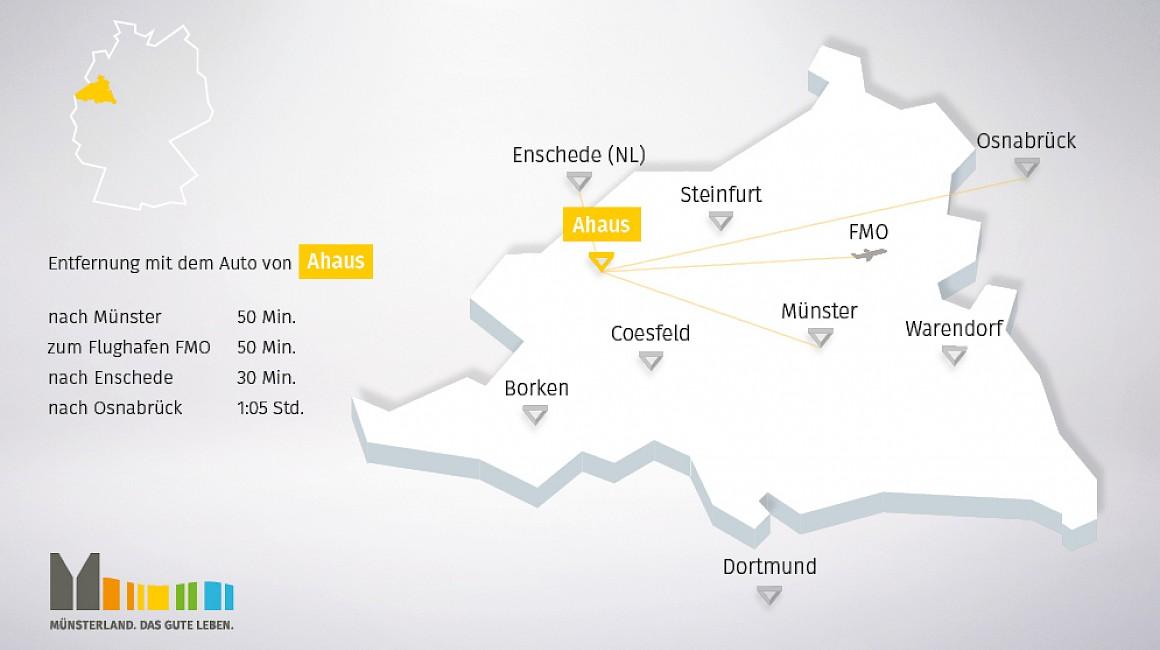 Geografische Lage von Ahaus im Münsterland
