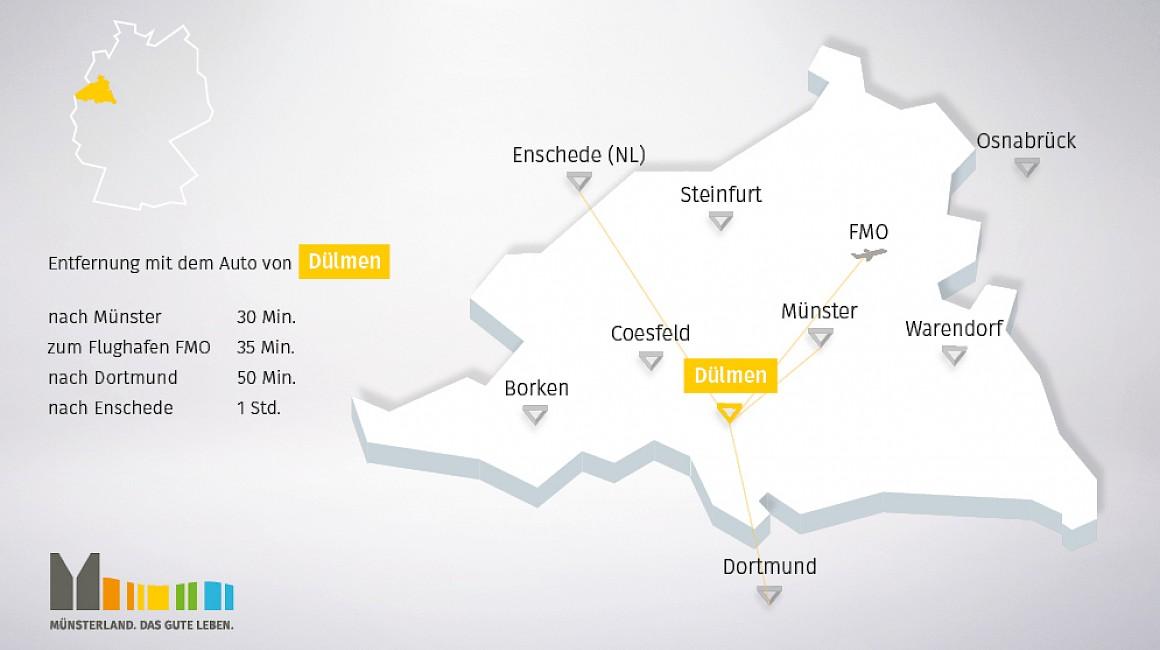 Geografische Lage von Dülmen im Münsterland