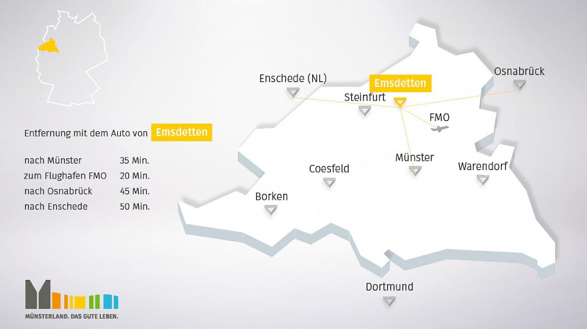 Geografische Lage von Emsdetten im Münsterland