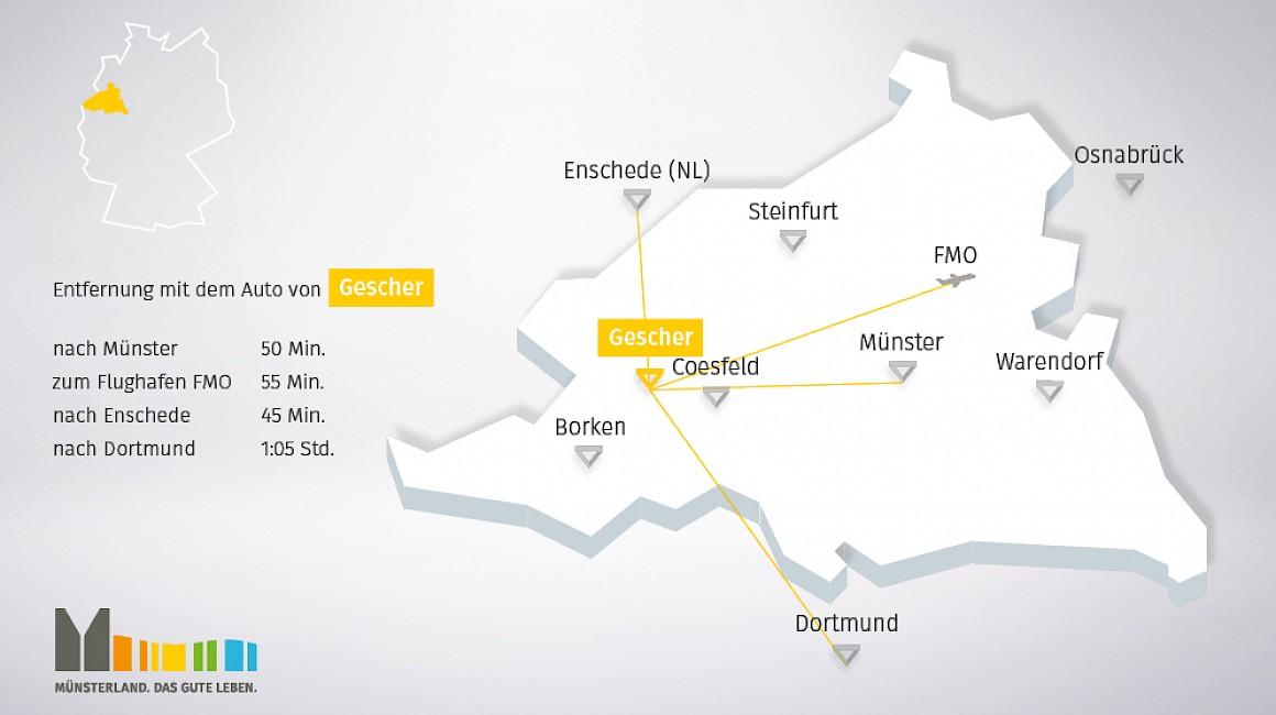 Geografische Lage von Gescher im Münsterland.