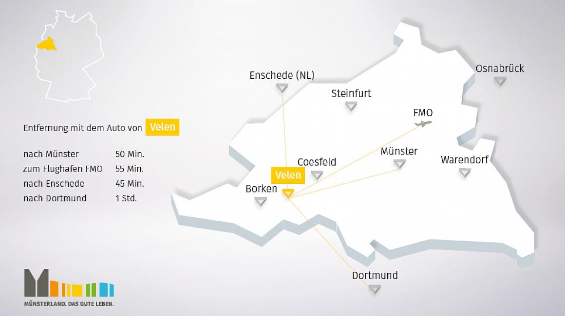 Geografische Lage von Velen im Münsterland