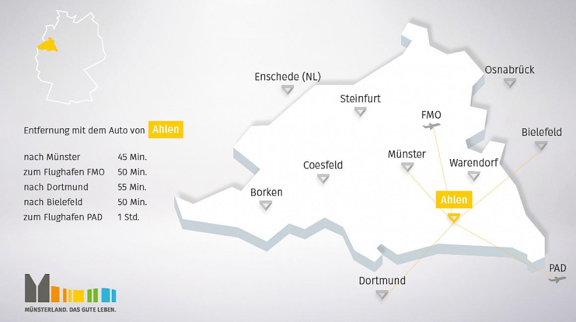 Geografische Lage von Ahlen im Münsterland