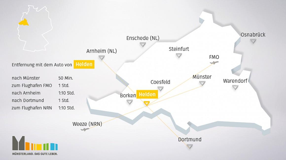 Geografische Lage von Heiden im Münsterland