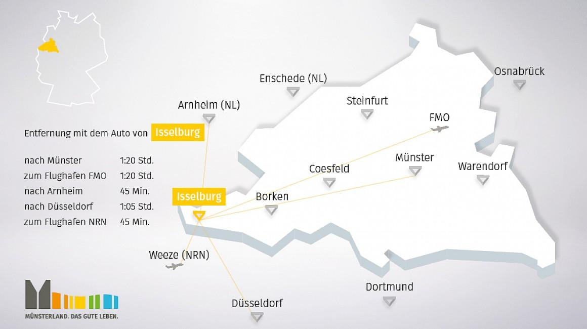 Geografische Lage von Isselburg im Münsterland