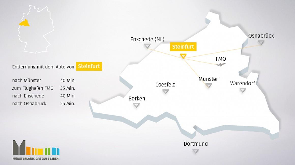 Geografische Lage von Steinfurt im Münsterland