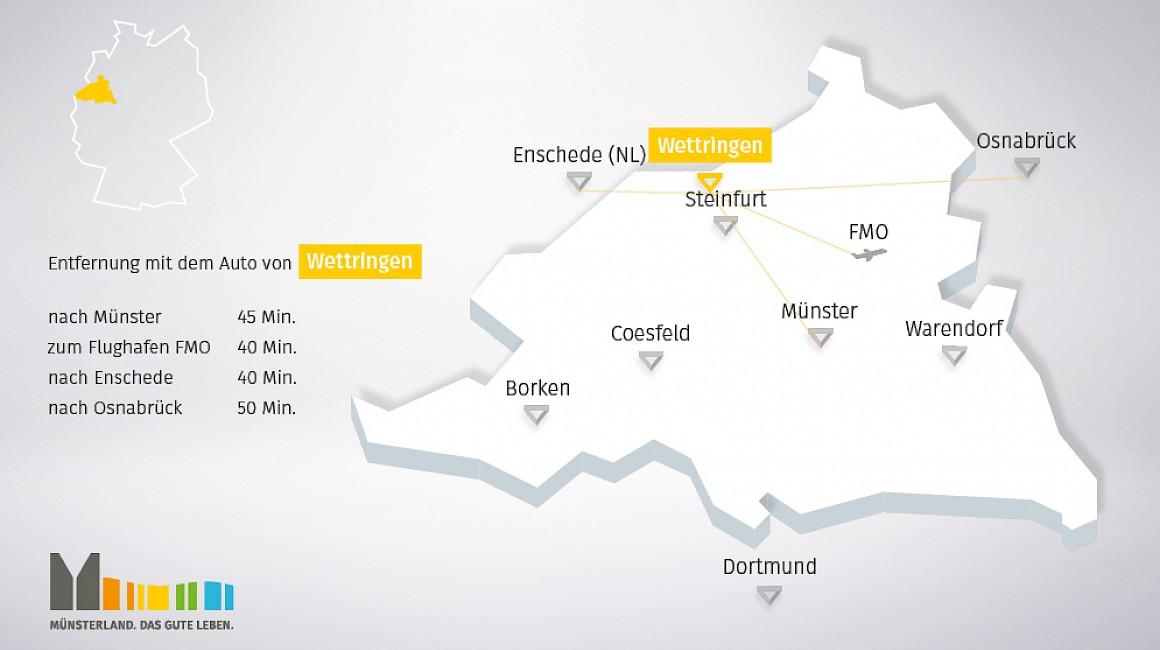 geografische Lage von Wettringen im Münsterland