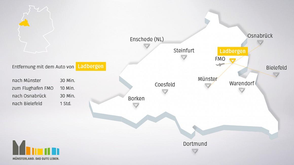 Geografische Lage von Ladbergen im Münsterland