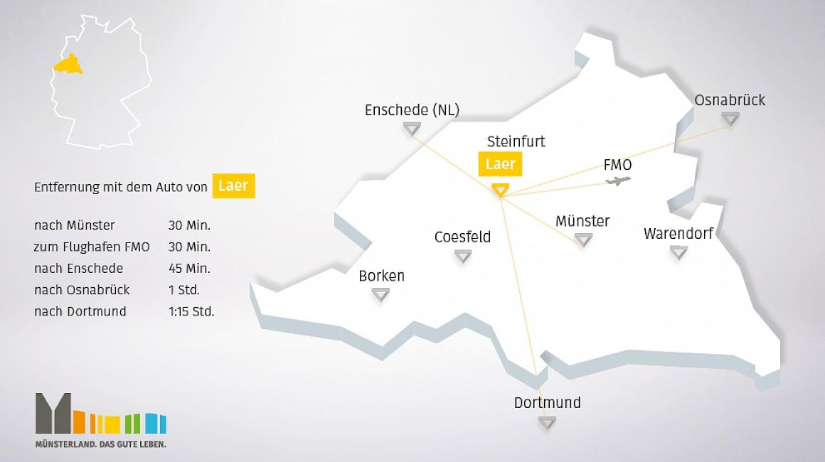 Geografische Lage von Laer im Münsterland