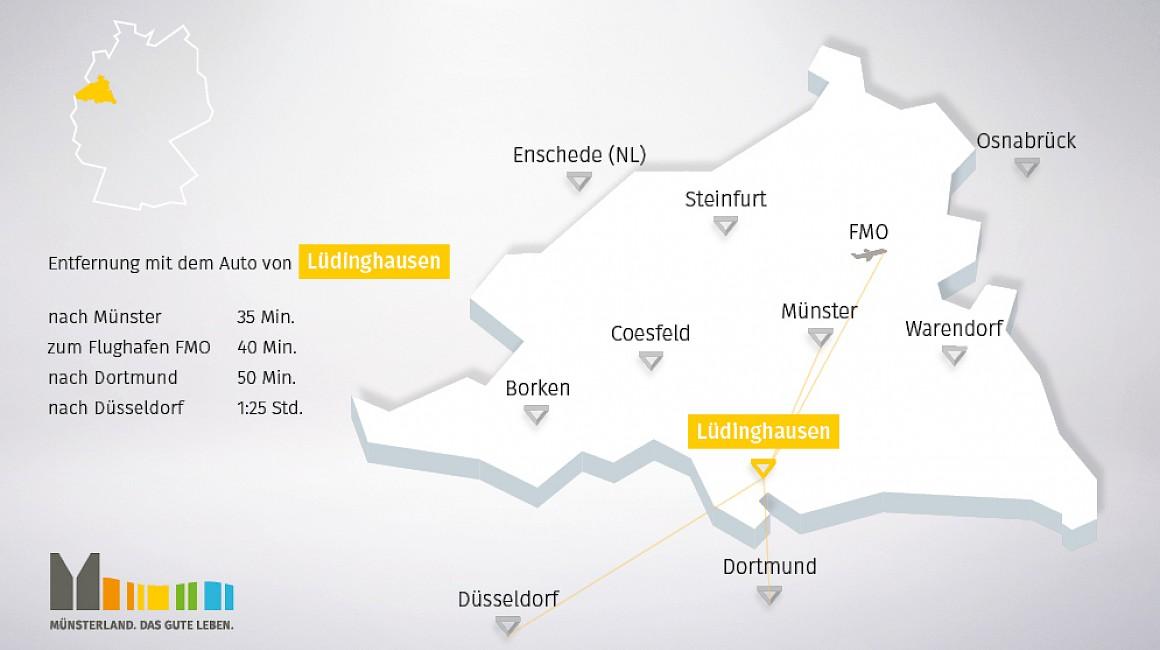 Geografische Lage von Lüdinghausen im Münsterland