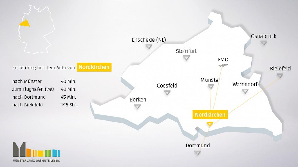 Geografische Lage von Nordkirchen im Münsterland