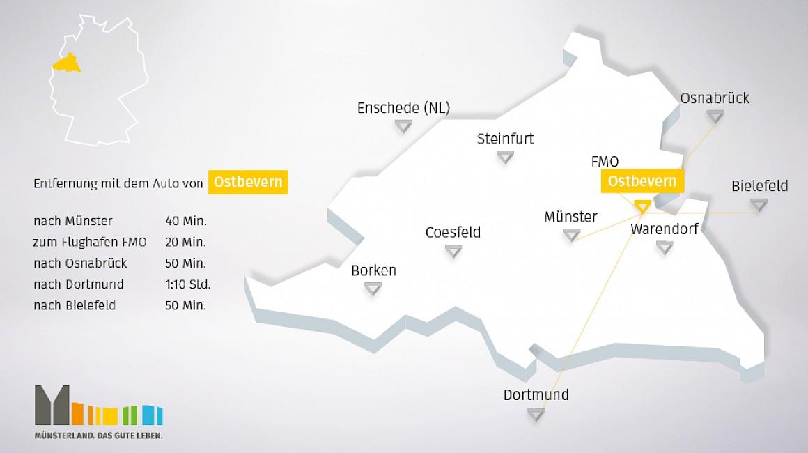 Geografische Lage von Ostbevern im Münsterland