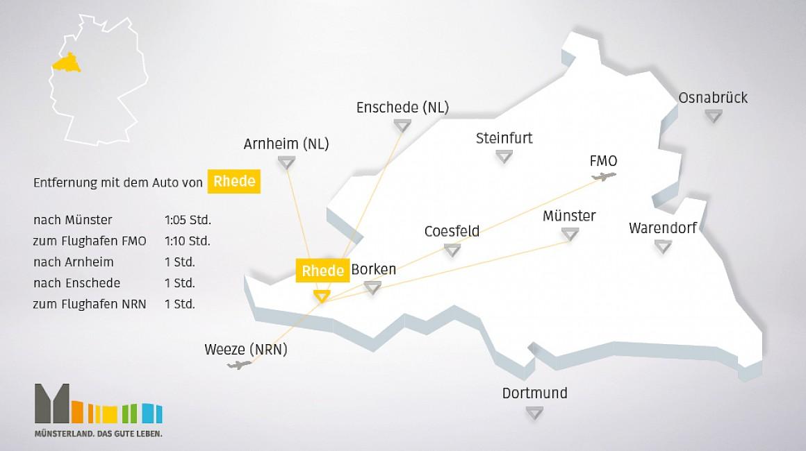 Geografische Lage von Rhede im Münsterland
