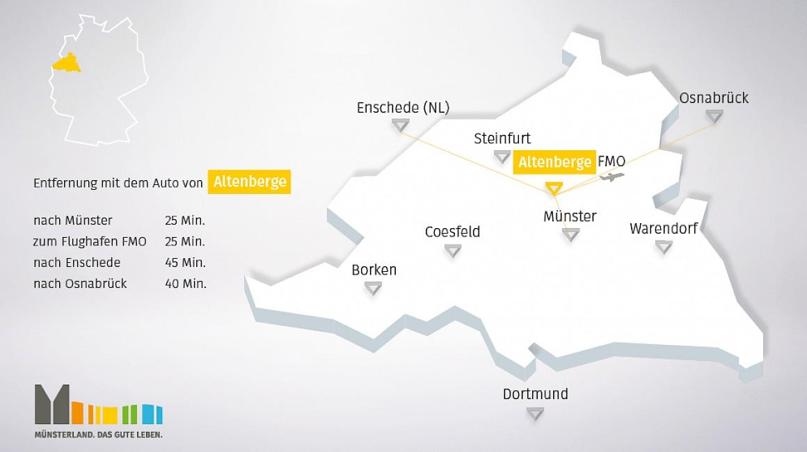 Geografische Lage von Altenberge im Münsterland