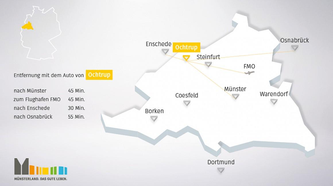 Geografische Lage von Ochtrup in Ahlen