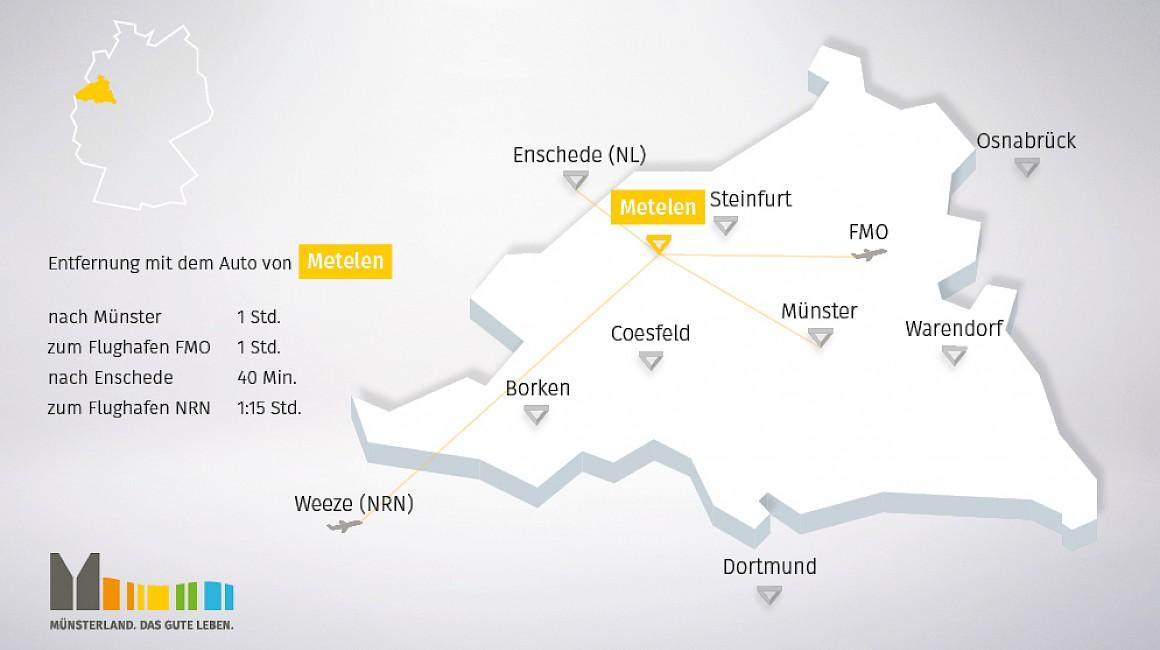Geografische Lage von Metelen im Münsterland
