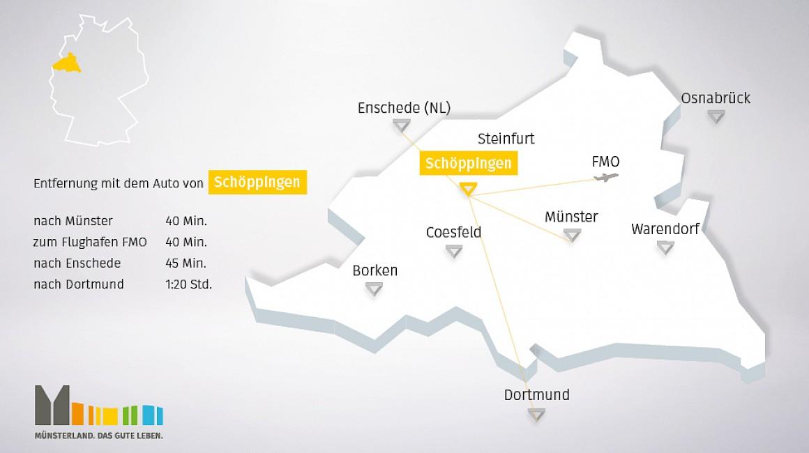 Geografische Lage von Schöppingen im Münsterland