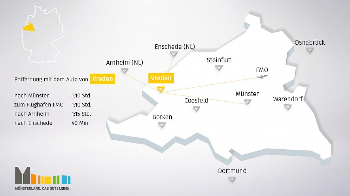 Geografische Lage von Vreden im Münsterland