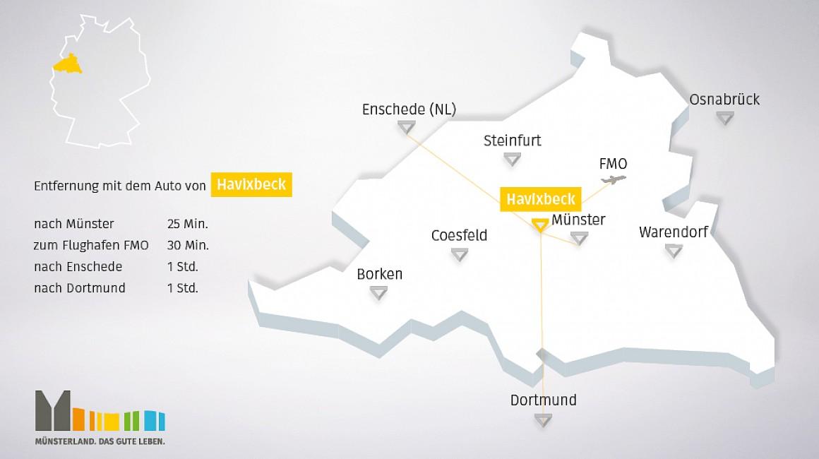 Geografische Lage von Havixbeck im Münsterland