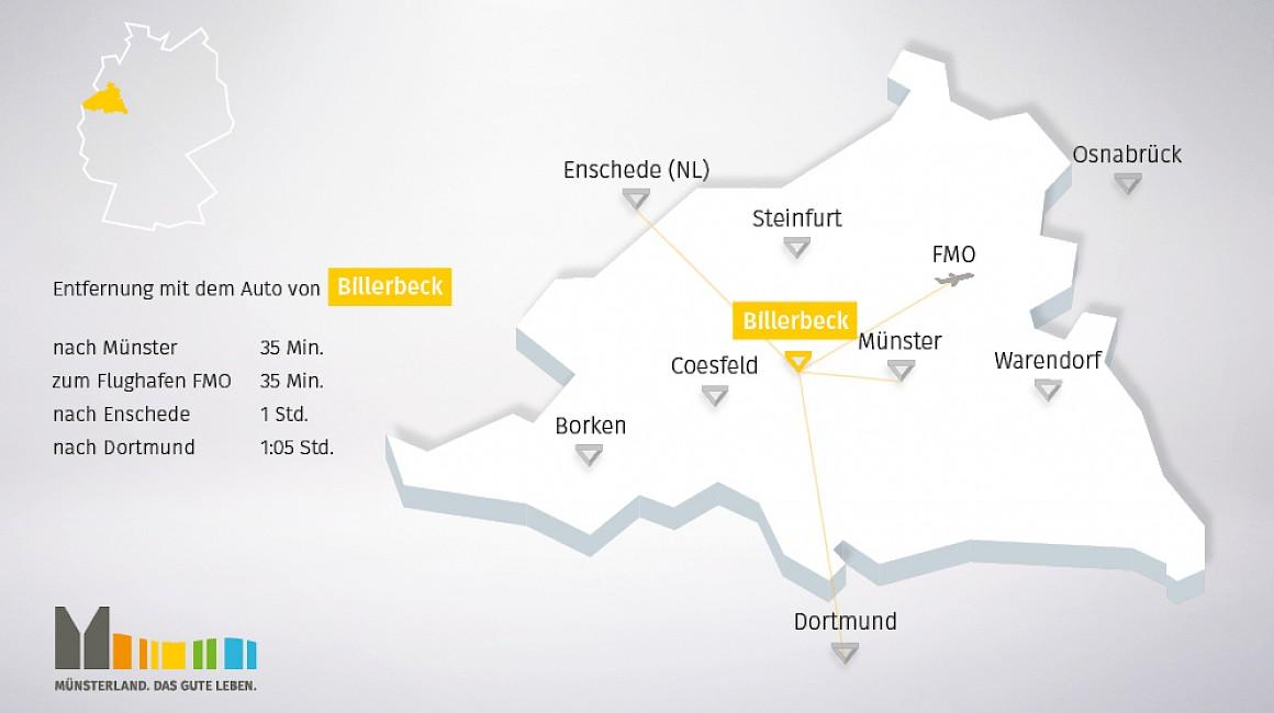 Geografische Lage von Billerbeck im Münsterland