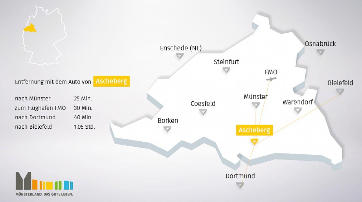 Geografische Lage von Ascheberg im Münsterland