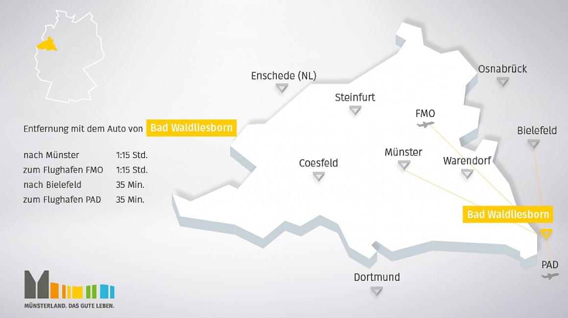 Geografische Lage von Bad Waldliesborn im Münsterland