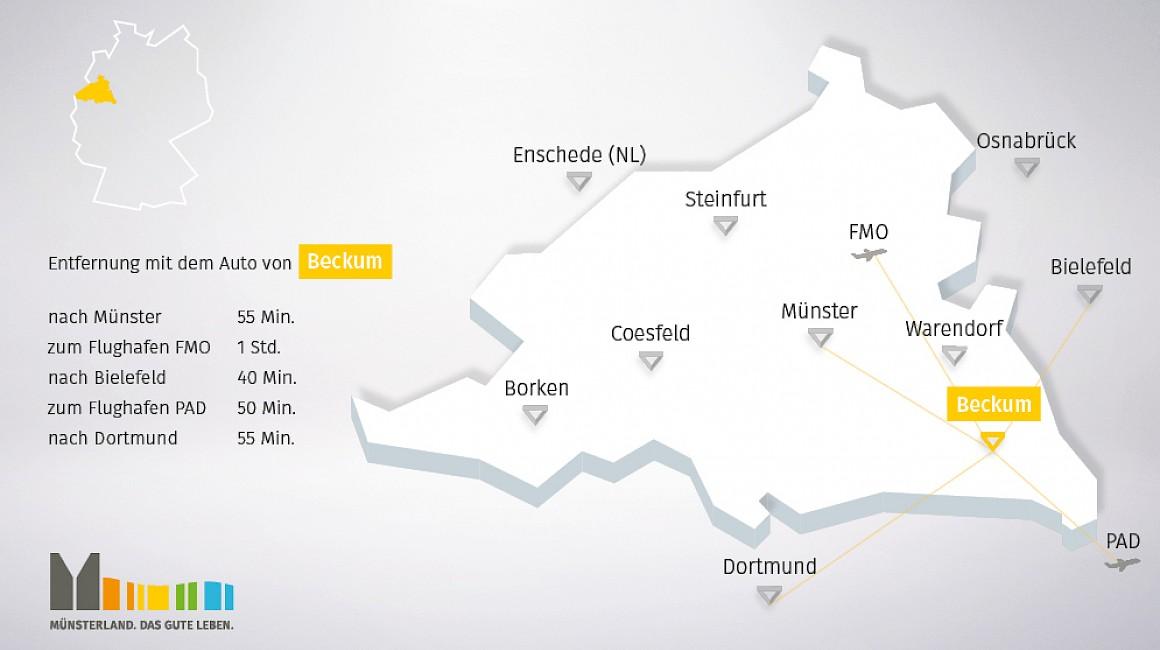 Geografische Lage vom Beckum im Münsterland