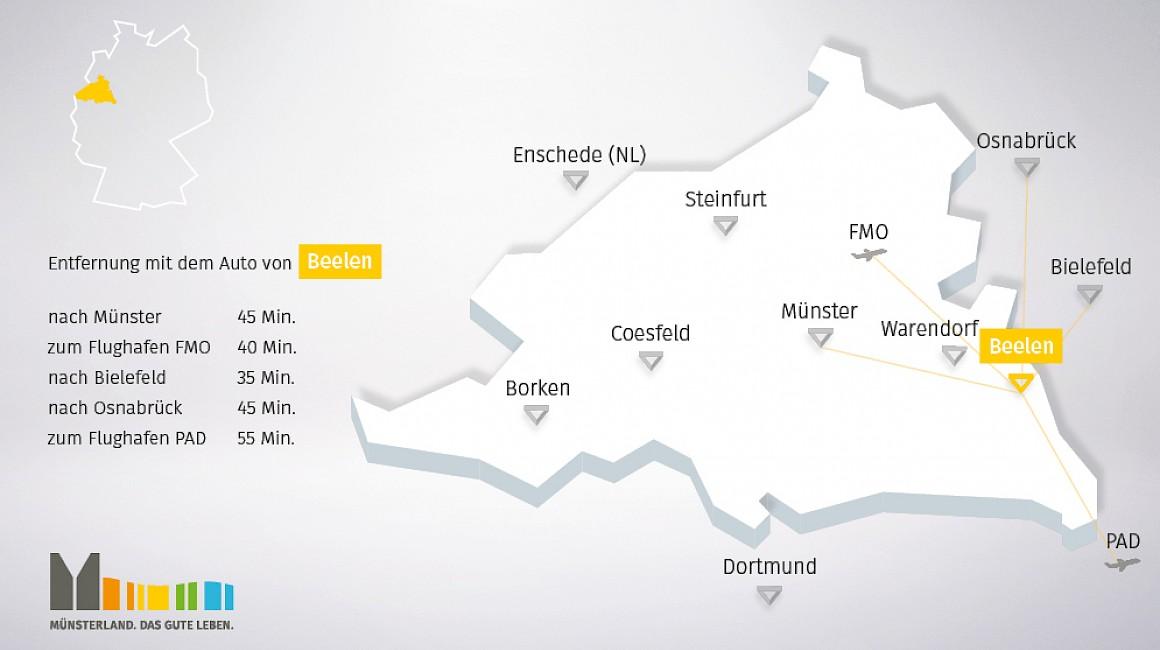 Geografische Lage von Beelen im Münsterland