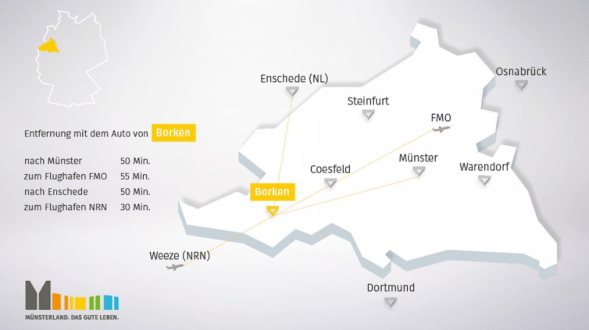 Geografische Lage von Borken im Münsterland