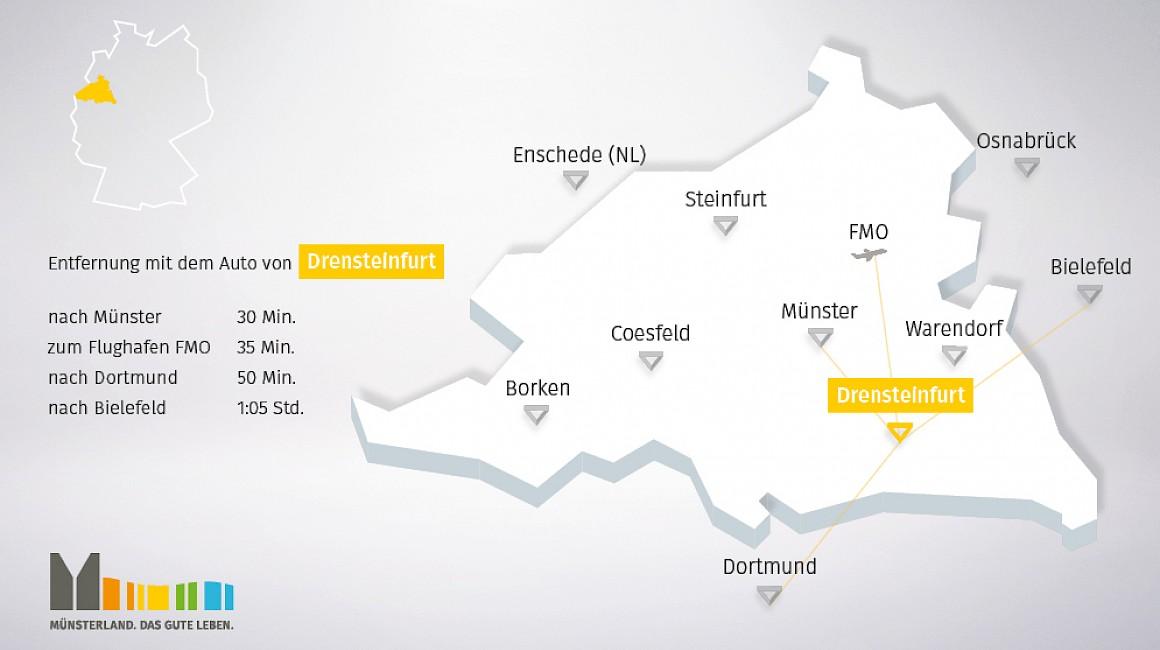 Geografische Lage von Drensteinfurt im Münsterland