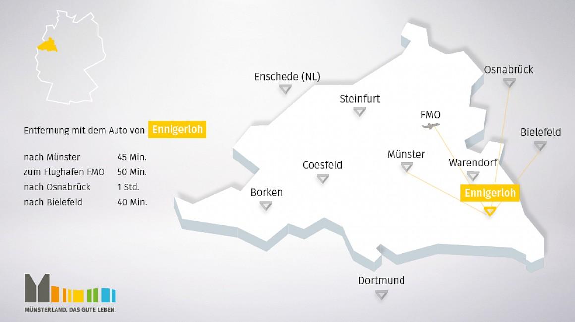 Geografische Lage von Ennigerloh im Münsterland