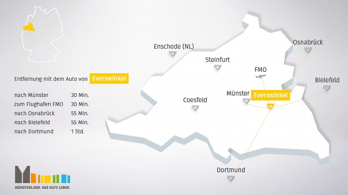 Geografische Lage von Everswinkel im Münsterland
