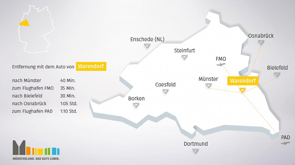 Geografische Lage von Warendorf im Münsterland