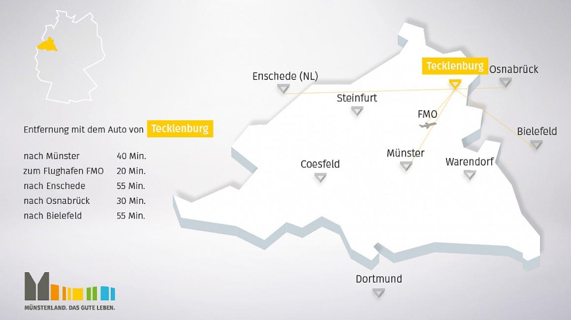 Geografische Lage von Tecklenburg im Münsterland