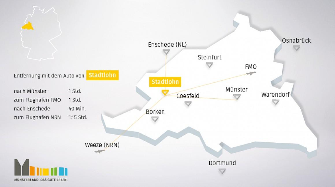 Geografische Lage von Stadtlohn im Münsterland