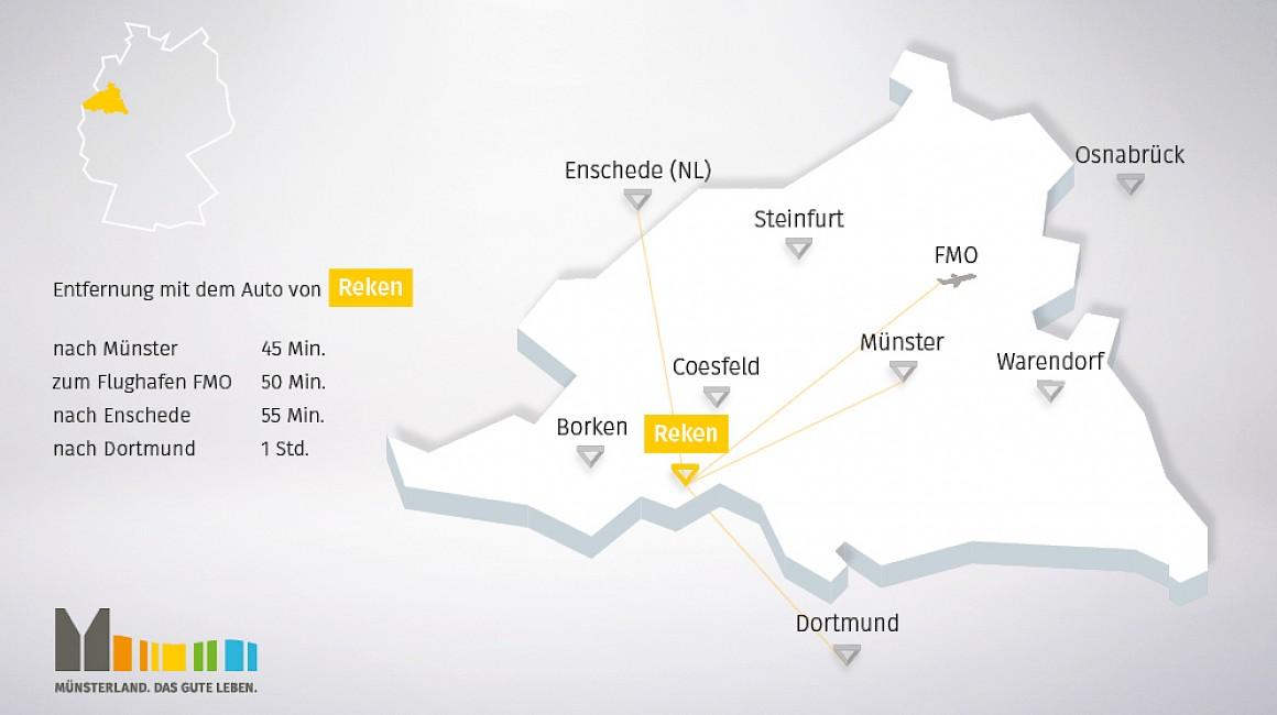 Geografische Lage von Reken im Münsterland