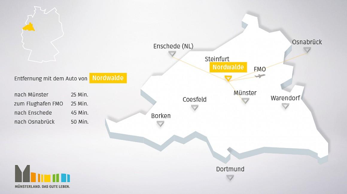 Geografische Lage von Nordwalde im Münsterland