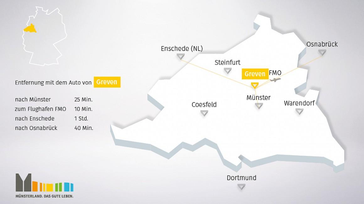 Geografische Lage von Greven im Münsterland