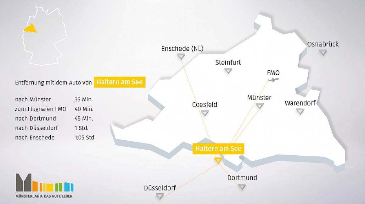 Geografische Lage von Haltern am See im Münsterland