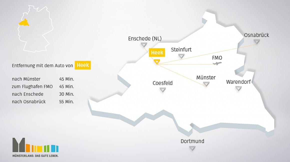 Geografische Lage von Heek im Münsterland