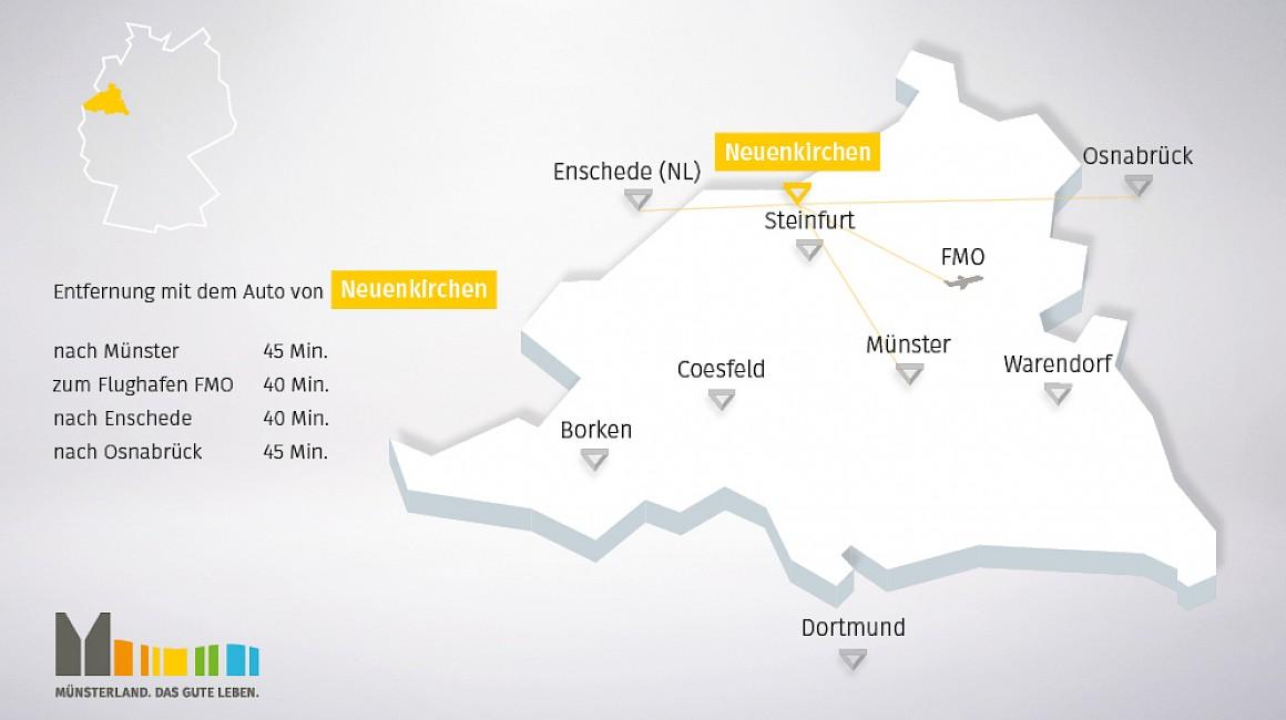 Geografische Lage von Neuenkirchen im Münsterland