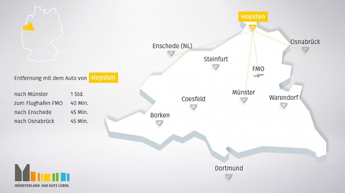 Anbindung und geografische Lage von Hopsten im Münsterland