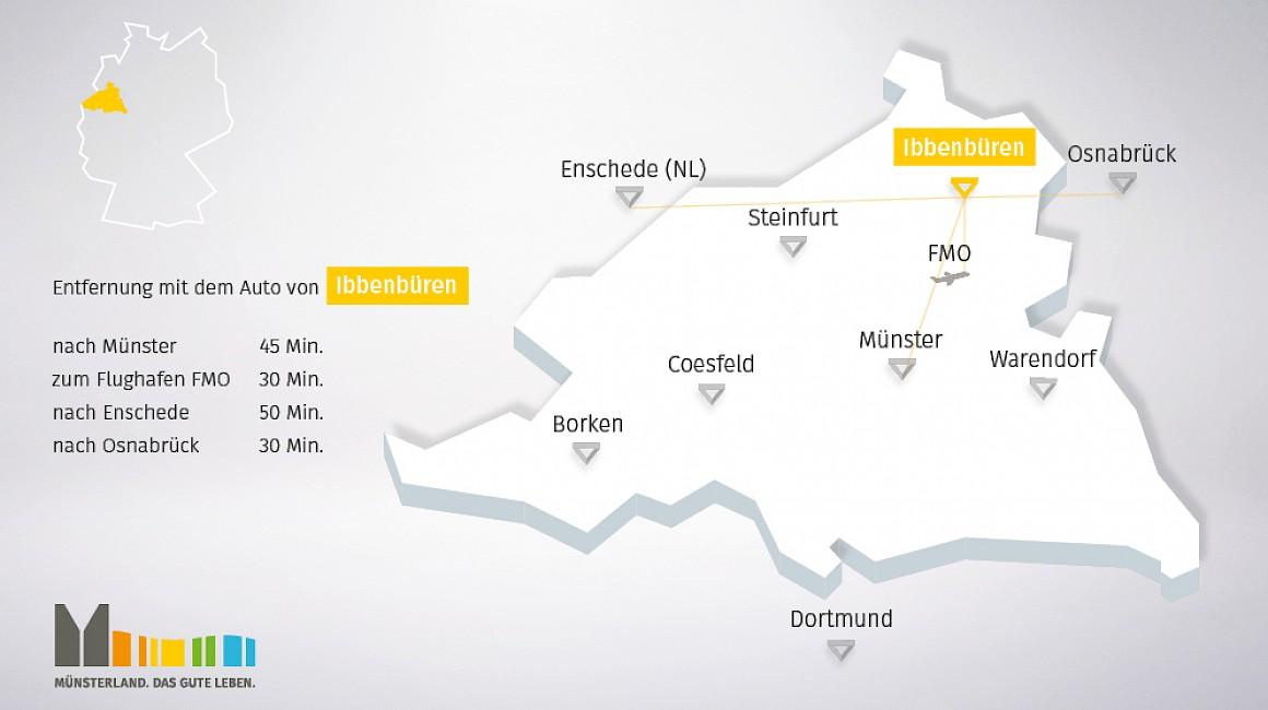 Anbindung und geografische Lage von Ibbenbüren im Münsterland