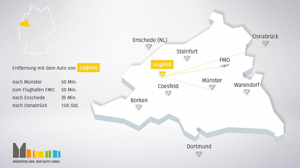 Anbindung und geografische Lage von Legden im Münsterland