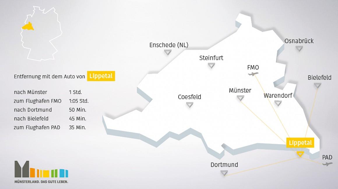 Geografische Lage von Lippetal im Münsterland
