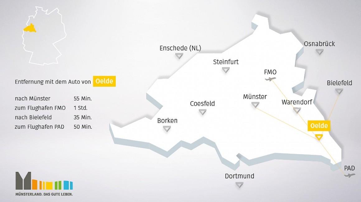Geografische Lage von Oelde im Münsterland
