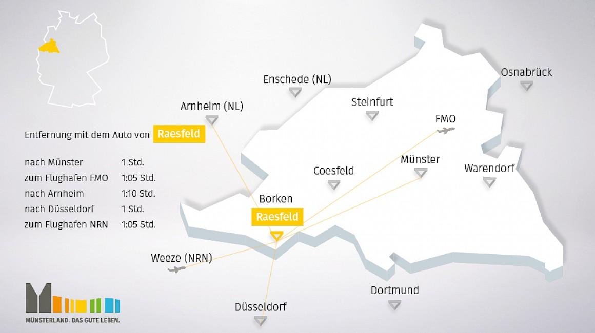 Anbindung und geografische Lage von Raesfeld im Münsterland