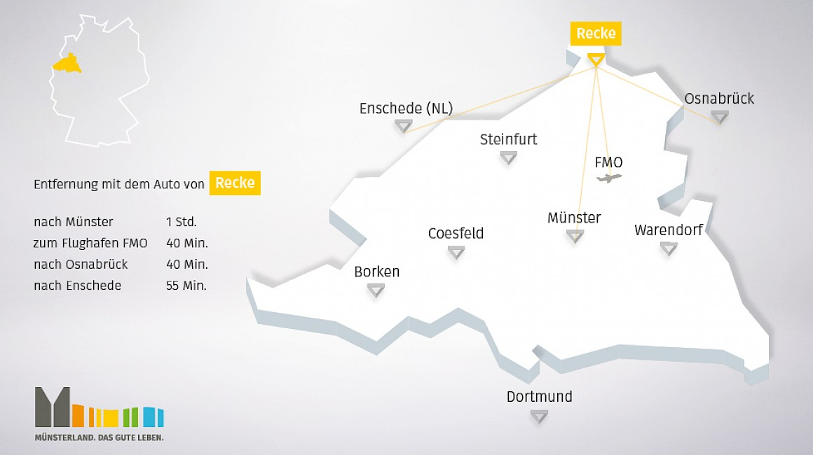Geografische Lage von Recke im Münsterland
